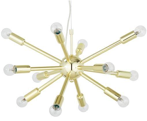 Lámpara de techo Spike, Anclaje: metal latón, Pantalla: metal latón, Anclaje: dorado brillante Pantalla: dorado brillante, Ø 50 cm