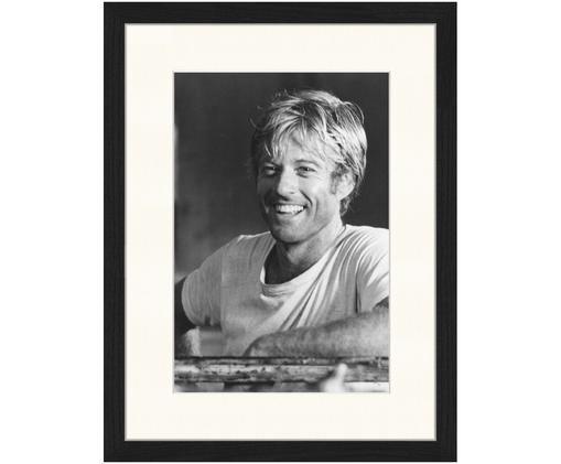 Oprawiony druk cyfrowy Robert Redford, Ilustracja: czarny, biały Rama: czarny, S 33 x W 43 cm