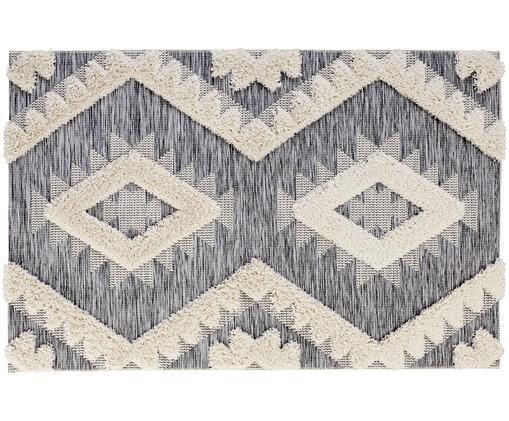 In- und Outdoorteppich Tiddas mit Hoch-Tief-Effekt in Grau-Creme, Flor: Polypropylen, Creme, Grau, B 195 x L 290 cm (Größe L)