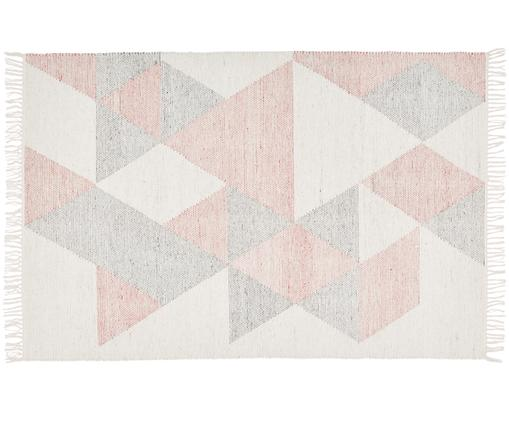 Tappeto tessuto a mano Ruana, Rosa, grigio, beige, Larg. 120 x Lung. 180 cm (taglia S)