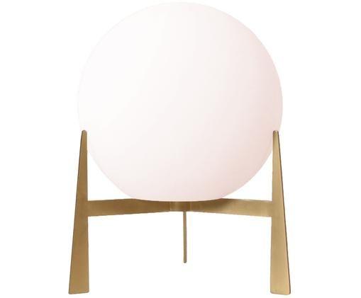 Lámpara de mesa Milla, Pantalla: vidrio opalino, Cable: cubierto en tela, Blanco opal, latón, Ø 22 x Al 28 cm