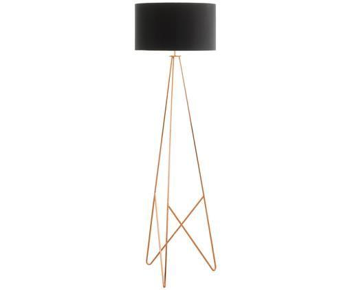 Stehlampe Camporale in Kupfer, Lampenfuß: Stahl, lackiert, Schwarz, Kupferfarben, Ø 45 x H 154 cm