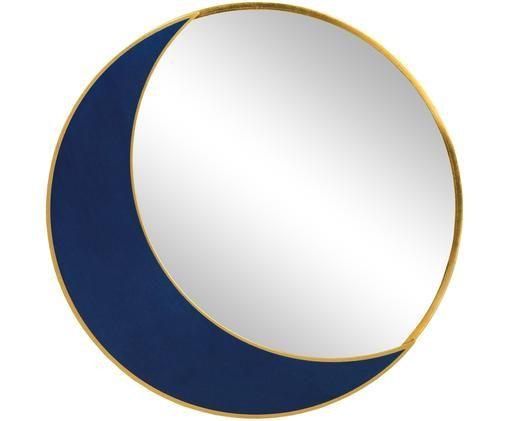 Lustro ścienne Moon, Odcienie mosiądzu, niebieski