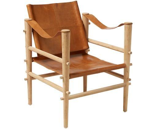 Poltrona in pelle Noble, Struttura: legno di bambù, carbonizz, Legno di bambù, marrone chiaro, P 61 x P 59 cm