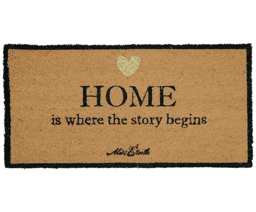 Tappeto Home Is Where The Story Begins, Retro: PVC, Beige, nero, dorato, Larg. 40 x Lung. 80 cm