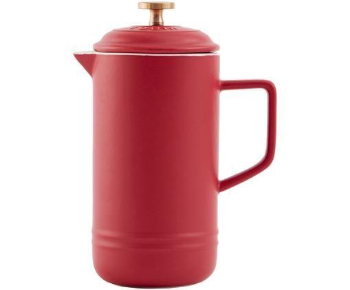 Kaffeezubereiter Monte, Kaffeezubereiter: Steingut, Pressstempel: Messing, Rot, 1 L