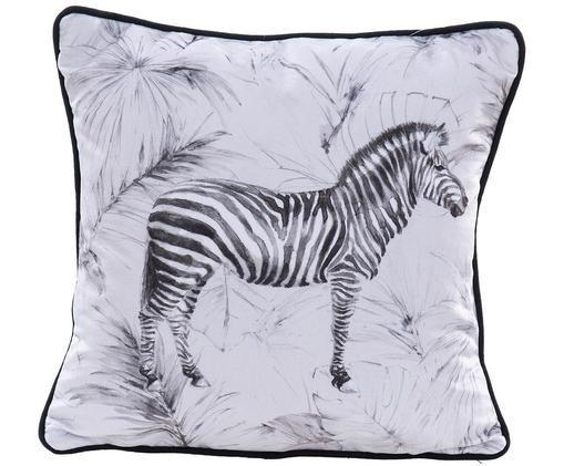 Cuscino in velluto con imbottitura Zebra, 100% velluto di poliestere, Bianco, nero, Larg. 45 x Lung. 45 cm
