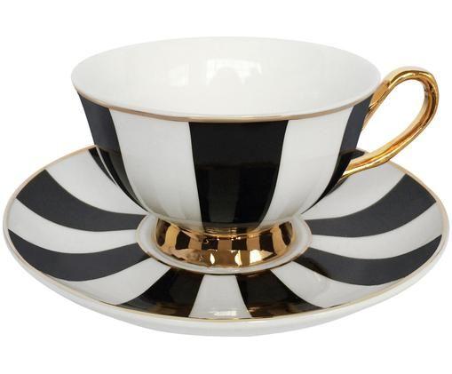 Tasses à thé Stripy, 2élém., Noir, blanc Bord et poignée: or