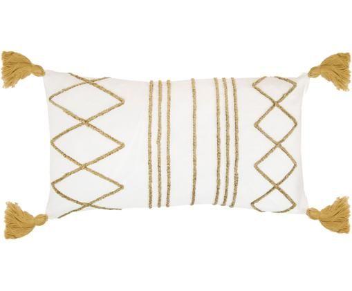 Kissenhülle Istanbul mit Hoch-Tief-Muster aus Chenille und Quasten, 50% Baumwolle, 50% Velours, Weiß, Gelb, 30 x 50 cm
