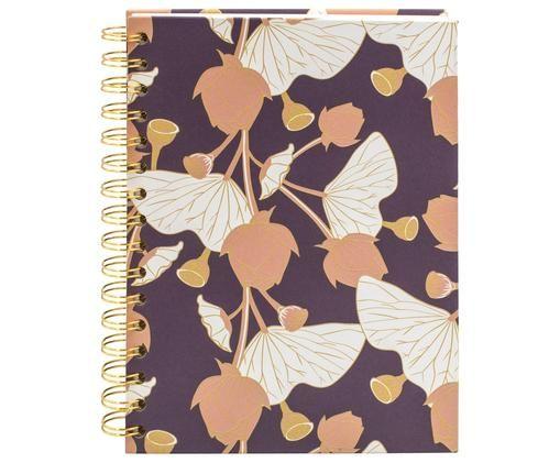 Quaderno a spirale Lotus, Viola, rosa, giallo, bianco, Larg. 16 x Alt. 21 cm