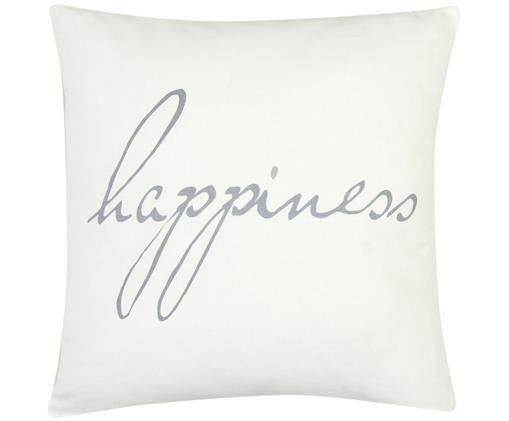 Poszewka na poduszkę Happiness, 100% bawełna, splot panama, Szary, kremowy, S 40 x D 40 cm