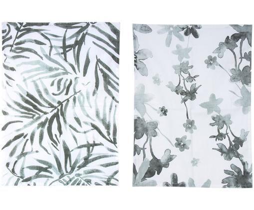 Set canovacci Flor, 2 pz., Cotone, Bianco, grigio, Larg. 50 x Lung. 70