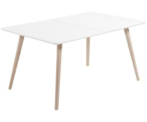 Stół rozsuwany do jadalni Eunice, Biały, drewno jesionowe