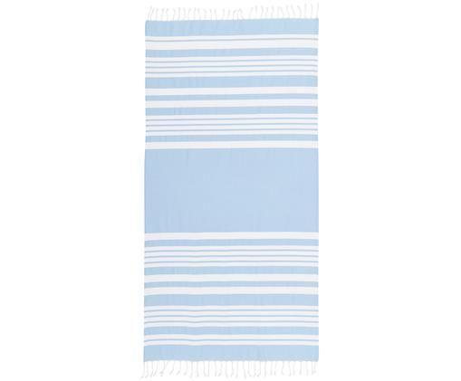Fouta z frędzlami Stripy, Bawełna Bardzo niska gramatura, 185 g/m², Jasnoniebieski, biały, S 95 x D 175 cm