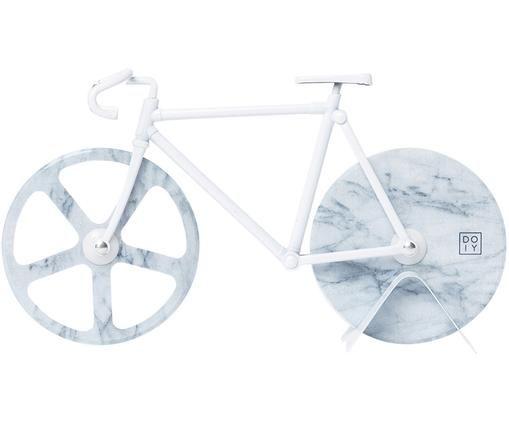 Weißer Pizzaschneider Velo im Fahrraddesign aus Edelstahl, Edelstahl, beschichtet, Weiß, marmoriert, 23 x 13 cm