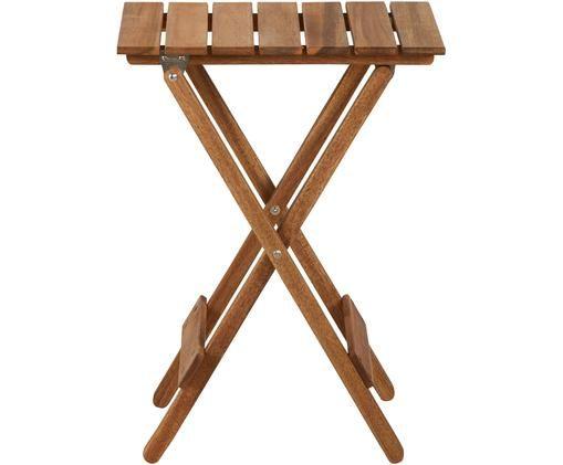 Mały stół składany z drewna Lodge, Drewno akacjowe, olejowane, Drewno akacjowe, S 38 x W 51 cm
