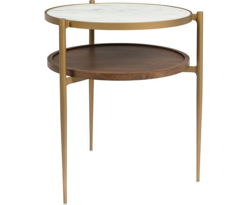Ronde bijzettafel Bella in marmerlook, Tafelblad: keramiek in marmerlook, Plank: MDF met walnoothoutfineer, Frame: gelakt metaal, Wit, goudkleurig, walnoothout, Ø 45 x H 54 cm