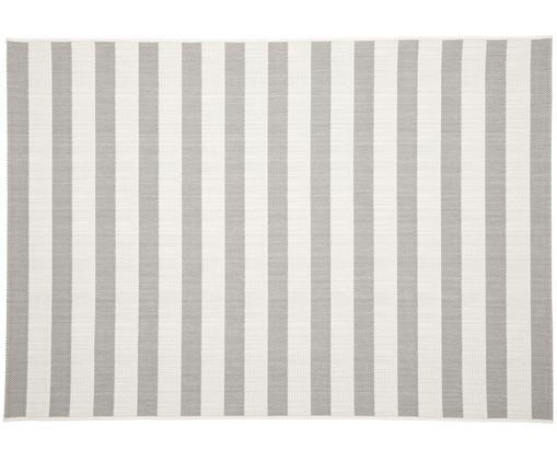 Tapis intérieur-extérieur à rayures Axa, Blanc, gris