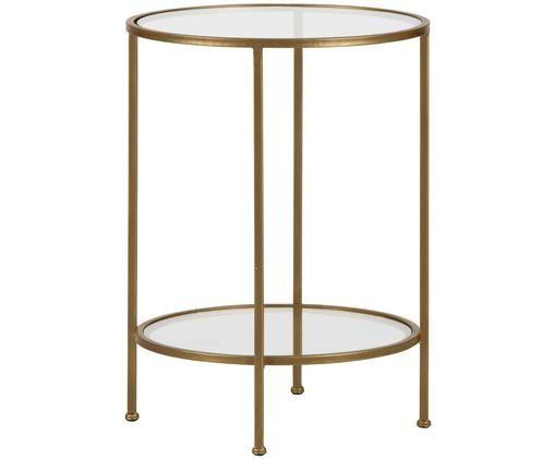 Stolik pomocniczy ze szkła z antycznym wykończeniem Goddess, Stelaż: metal, mosiądz z antyczny, Stelaż: mosiądz, antyczne wykończenie Podstawa i blat: transparentny, Ø 46 x W 61 cm