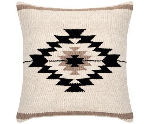 Gewebte Kissenhülle Toluca im Ethno Style, Baumwolle, Schwarz, Beige, Taupe, 45 x 45 cm