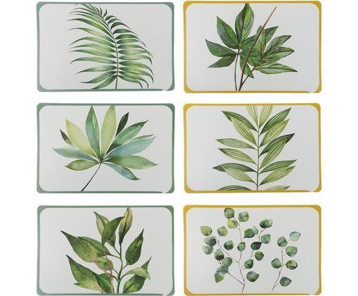 Komplet podkładek Botanique, 6 elem., Tworzywo sztuczne, Biały, zielony, żółty, S 45 x G 30 cm
