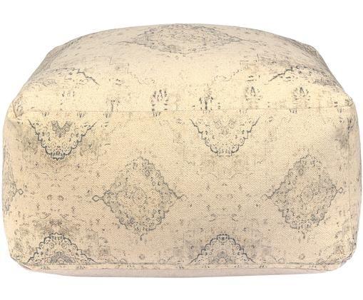 Puf vintage Versalles, Tapicerka: bawełna, Beżowy, szary, S 60 x W 30 cm