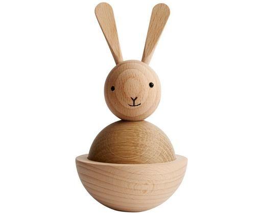 Figura decorativa Rabbit, Figura: madera de haya y de roble, Madera, negro, Ø 7 x Al 13 cm