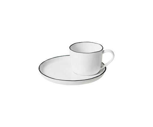 Tasse à espresso avec sous-tasse faite à la main Salt, Blanc cassé Bord: noir