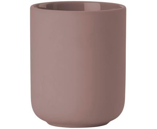 Tazza per lo spazzolino in terracotta Omega, Terracotta rivestita con superficie soft-touch (materiale sintetico), Rosa cipria opaco, Ø 8 x Alt. 10 cm