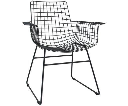 Design armstoel Wire van metaal, Gepoedercoat metaal, Zwart, 72 x 86 cm