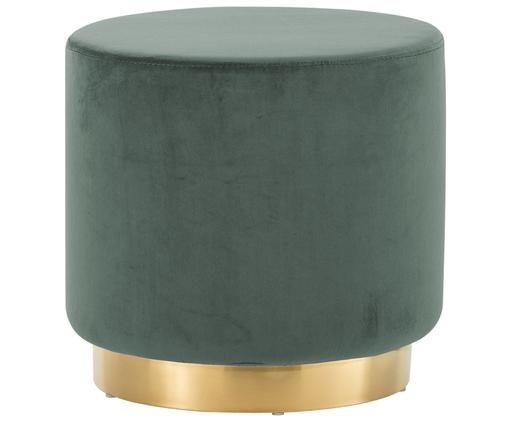 Puf z aksamitu Orchid, Tapicerka: jasny zielony Podstawa: odcienie złotego