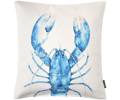 Federa arredo con motivo acquerello Lobster, Cotone, Bianco, blu, Larg. 40 x Lung. 40 cm