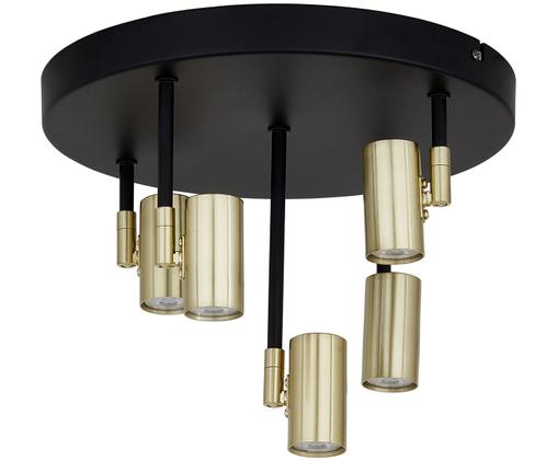 Lampa sufitowa LED Tony, Osłona mocowania sufitowego: czarny, matowy Oprawy: odcienie mosiądzu, Ø 30 x W 26 cm