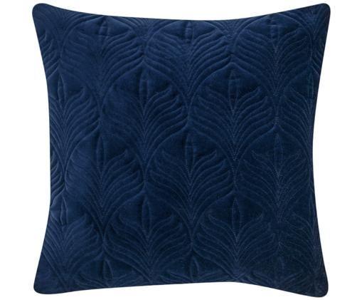 Watowana poszewka na poduszkę z aksamitu Celine, Ciemny niebieski, S 40 x D 40 cm