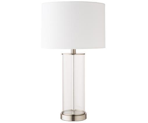 Tafellamp Abigail, Voetstuk: vernikkeld metaal, Lampvoet: glas, Lampenkap: linnen, Nikkelkleurig, Ø 32 x H 61 cm