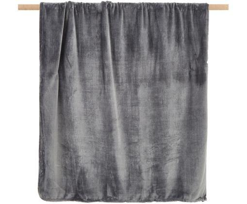 Weiches Fleece-Plaid Doudou in Anthrazit, Polyester, Anthrazit, 130 x 160 cm
