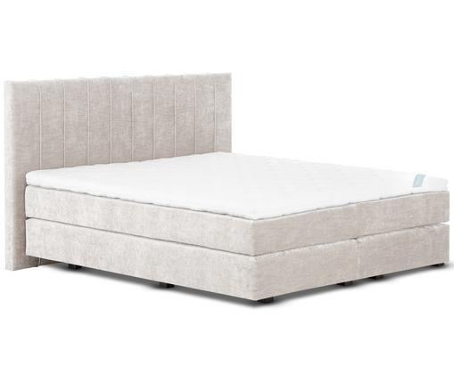 Łóżko kontynentalne z aksamitnym obiciem premium Lacey, Beżowy