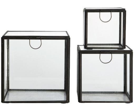 Komplet pudełek do przechowywania Antique, 3 elem., Stelaż: cynk, czarny, antyczne wykończenie Ścianki: transparentny