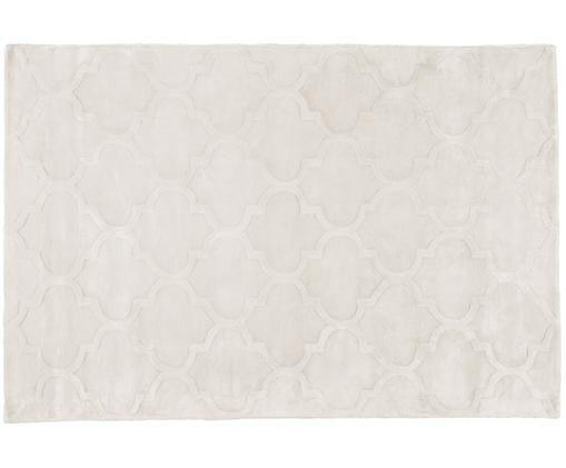 Ručne tuftovaný koberec z viskózy Magali, Krémová