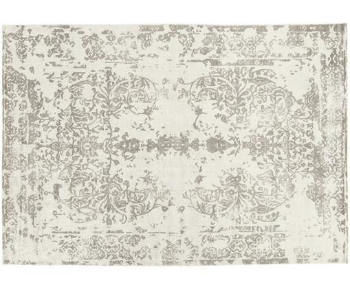 Vintage Teppich Florentine, Wolle/Viskose, Beige, Hellgrau