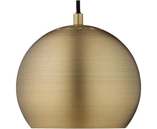 Lampada a sospensione a sfera Ball, Paralume: ottone spazzolato, Ottone, nero, Ø 18 x Alt. 17 cm