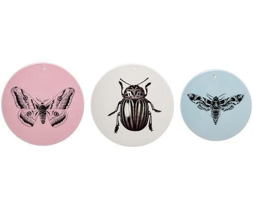 Wandobjekt-Set Fauna aus Steingut, 3-tlg., Steingut, Rosa, Beige, Blau, Ø 18 x T 1 cm