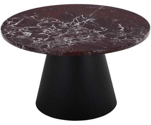 Tavolino da salotto rotondo in marmo Mary, Piano d'appoggio: marmo, Struttura: metallo rivestito, Marmo rosso-bianco, nero, Ø 70 x Alt. 40 cm