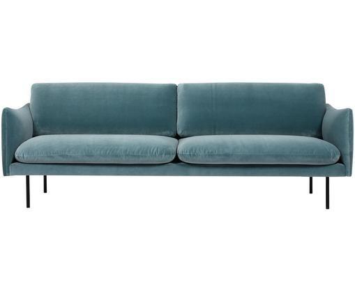 Samt-Sofa Moby (3-Sitzer), Bezug: Samt (Hochwertiger Polyes, Gestell: Massives Kiefernholz, Füße: Metall, pulverbeschichtet, Türkis, B 220 x T 95 cm