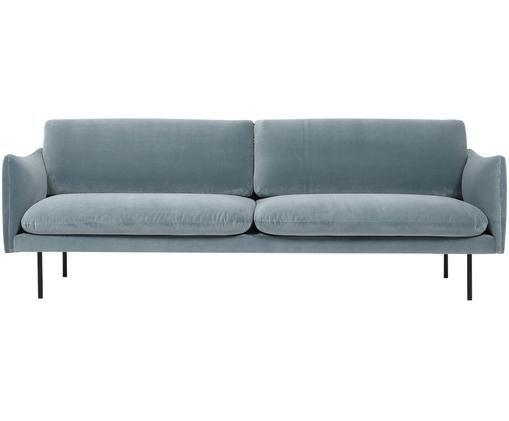 Samt-Sofa Moby (3-Sitzer), Bezug: Samt (Hochwertiger Polyes, Gestell: Massives Kiefernholz, Füße: Metall, pulverbeschichtet, Samt Türkis, B 220 x T 95 cm