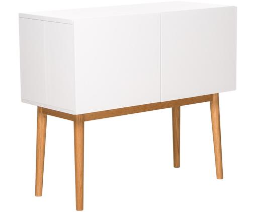 Dressoir High on Wood in wit hoogglans, Frame: PU gelakt MDF, Poten: massief eikenhout, Wit, naturel, 90 x 80 cm