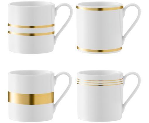 Komplet kubków do kawy Deco, 4 elem., Porcelana, Biały, odcienie złotego, Ø 9 x W 9 cm