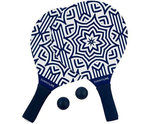 Beachtennis-Set Azule, 4-tlg., Blau, Weiß, 24 x 39 cm