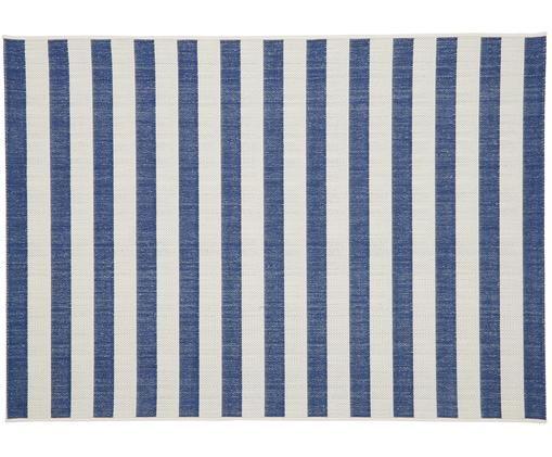 Tapis intérieur-extérieur à jeu de rayures Axa, Blanc crème, bleu
