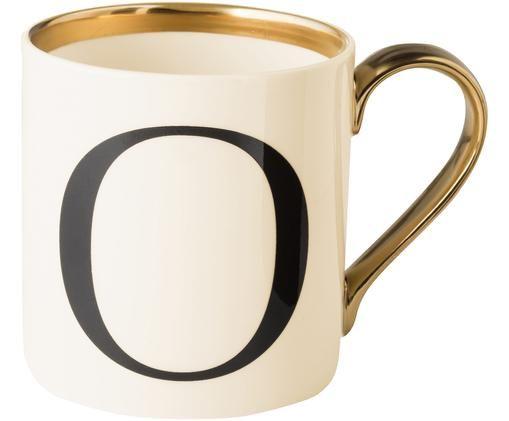 Tazza Baskerville (varianti dalla A alla Z), Bordo: dorato, Beige, nero, oro, Tazza O